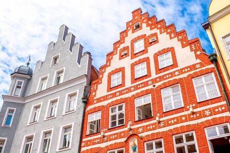 landshut: Colorful bavarian houses in the old town of Landshut city, Germany