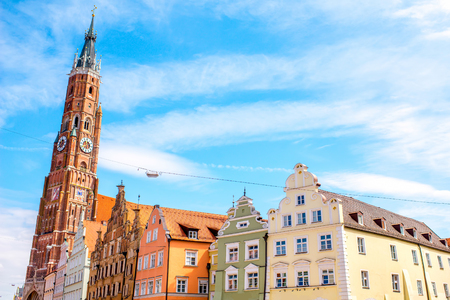 landshut: Cityscape view with saint Martin cathedral in the center of Landshut old town in Germany