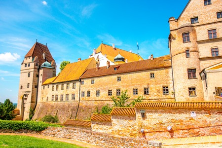 landshut: Landshut, Germany - July 04, 2016: Walls of Trausnitz medieval castle in Landshut town. This castle was a seat of the hereditary rulers of the whole of Bavaria