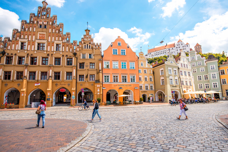 crowded street: Landshut, Germany - July 04, 2016: Crowded street with colorful houses in the center of Landshut old town, Germany