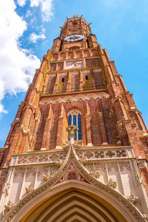 landshut: Saint Martin churchs bell tower in Landshut town Germany