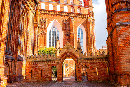 francis: Close-up view on Francis of Assisi gothic church in the old town of Vilnius city, Lithuania.