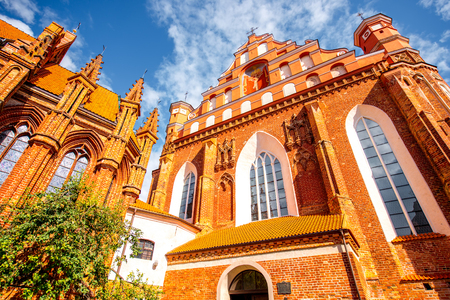 Close-up view on Francis of Assisi gothic church in the old town of Vilnius city, Lithuania.