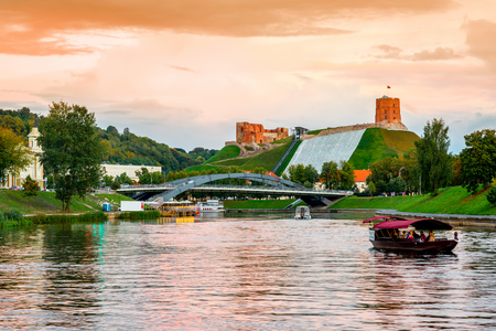 Landscape view on the riverside with castle hill at the evening in Vilnius, Lithuania