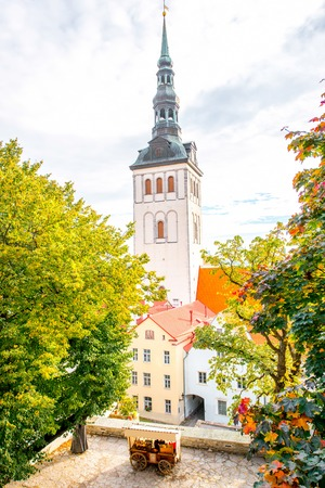 Ciytscape view on the old town with saint Nicholas church in Tallinn, Estonia Stock Photo