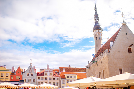 View on the town hall and buildings on the central square in Tallinn, Estonia