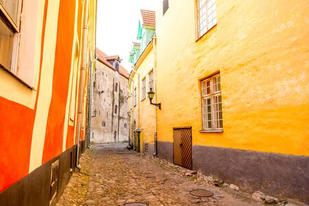 Street view with colorful buildings in the old town of Tallinn, Estonia Stock Photo