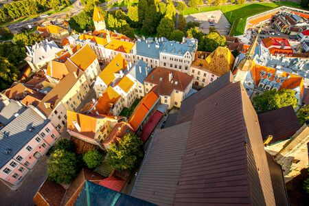 Top view from Olafs church tower on the old town of Tallinn, Estonia