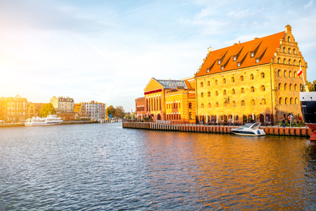 View on Motlawa river and riverside on the sunset in Gdansk, Poland