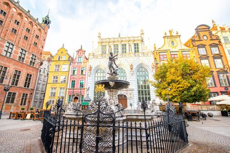 neptun: Famous Neptune fountain in the center of the old town of Gdansk, Poland Stock Photo