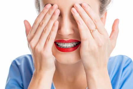 Woman with tooth braces