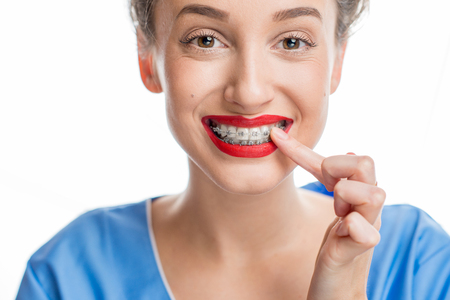 Happy woman with braces Stock Photo