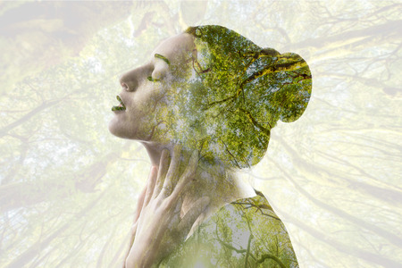 Double exposure woman portrait