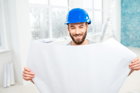 plasterer: Foreman or builder with drawings