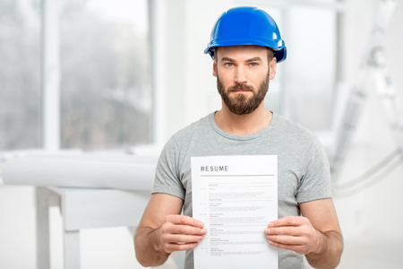 plasterer: Builder searching a job Stock Photo