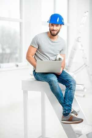 plasterer: Builder or repairman portrait Stock Photo