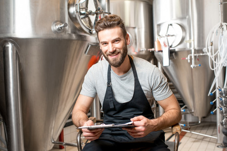 the brewer: Brewer at the manufacturing Stock Photo