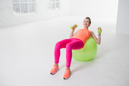 fitball: Woman doing fitness