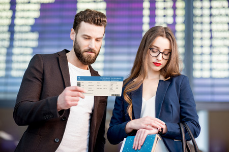 Business couple at the airport