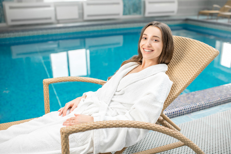 Woman relaxing in the spa Stock Photo