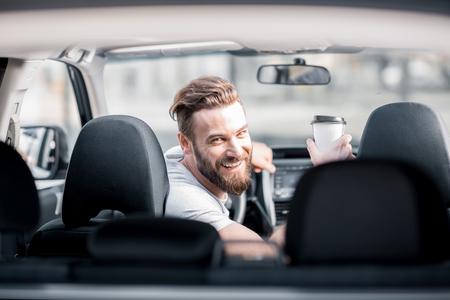 Portrait of a man in the car 版權商用圖片