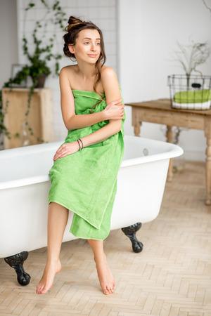 woman bath: Woman in the bathroom