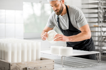 Cheese maker at the manufacturing 版權商用圖片 - 76739283