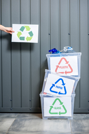 Conteneurs à déchets triés Banque d'images