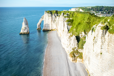 Landscape view on the rocky coastline in Etretat