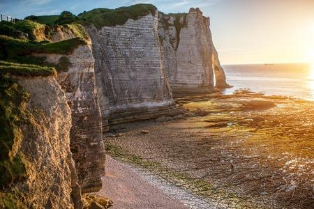 normandy: Landscape view on the rocky coastline in Etretat