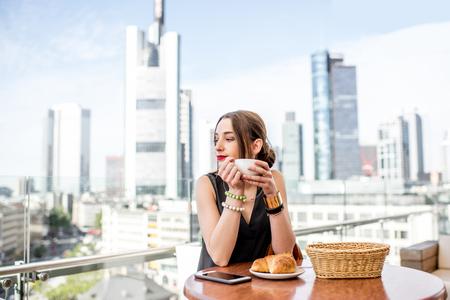 Businesswoman in Frankfurt Stock Photo