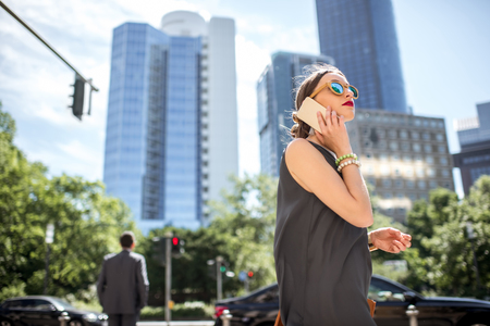 Businesswoman outdoors in the modern city