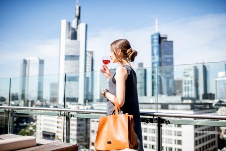 am: Businesswoman in Frankfurt Stock Photo