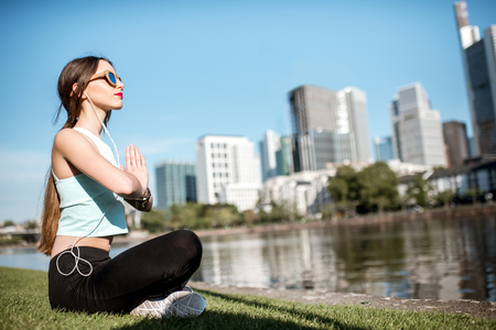 Woman exercising in Frankfurt city