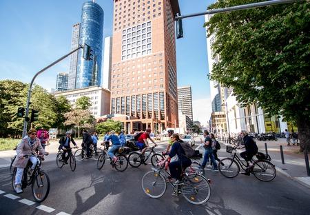 Business life in Frankfurt city
