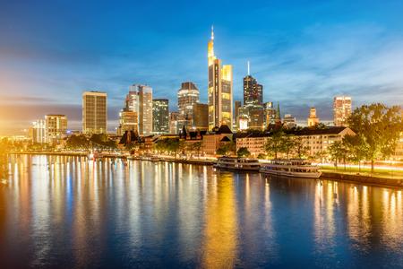 hessen: Night view on the illuminated cityscape in Frankfurt Stock Photo