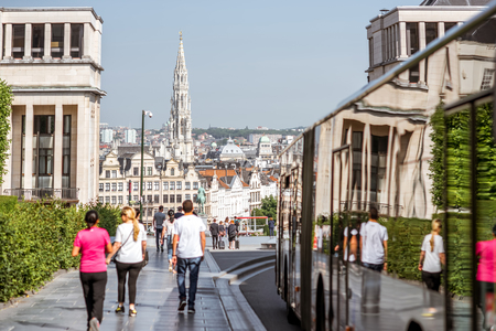 People on the Art Mountain in Brussels Editorial