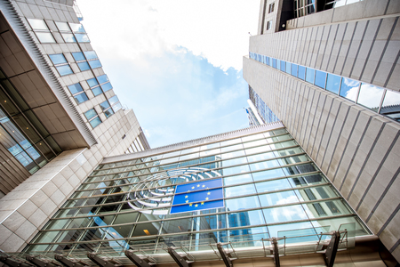 Europees Parlement gebouw in Brussel Stockfoto - 82098849