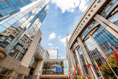 European parliament building in Brussels 免版税图像 - 81471580
