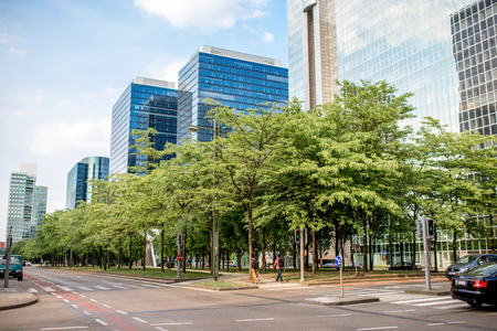 Financial district in Brussels city