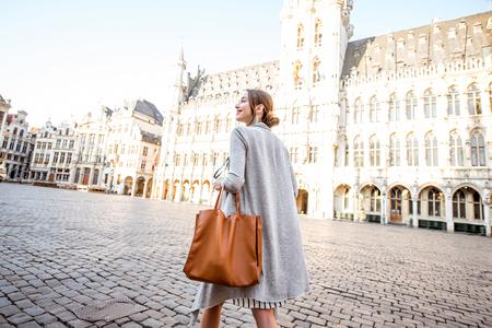 Woman traveling Brussels Banco de Imagens