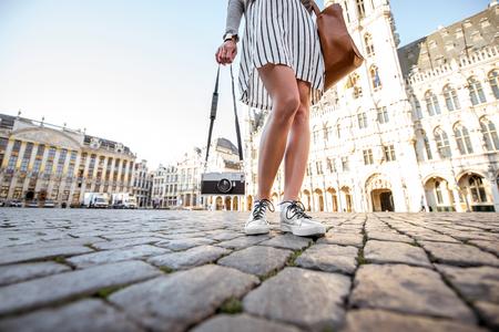 女性旅行ブリュッセル 写真素材