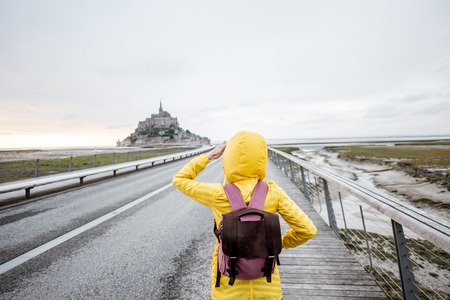 Tourist near saint Michel island in France