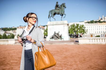 Woman traveling in Lyon