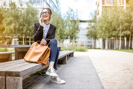 Portrait of a businesswoman outdoors