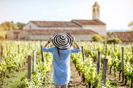 Woman enjoying the vineyards