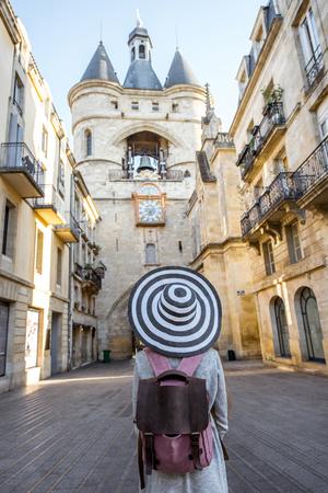 Woman traveling in Bordeaux city