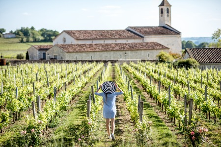Woman enjoying the vineyards