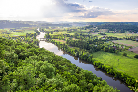 Landscape view on Dordogne river in France Stock Photo