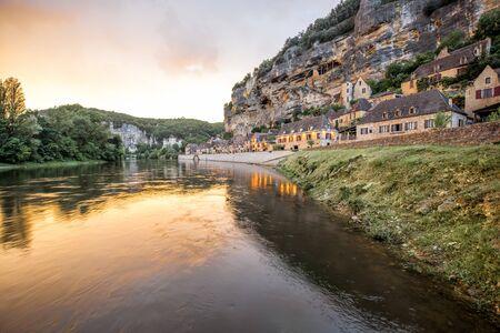 프랑스의 La Roque Gageac 마을 스톡 콘텐츠